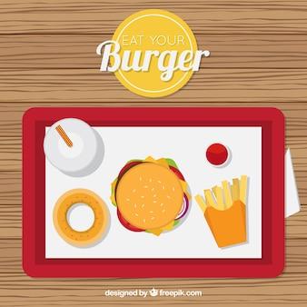 Bandera roja con menú de hamburguesa