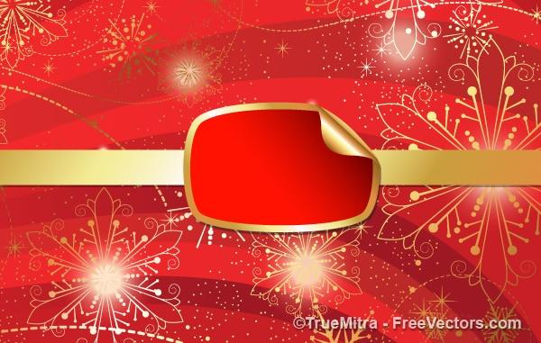 Bandera roja de navidad con copos de nieve de oro