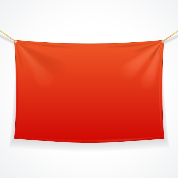Bandera roja rectangular de tela con cuerdas.