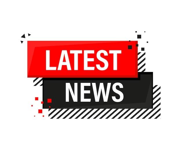 Bandera roja de las últimas noticias en estilo 3d sobre blanco