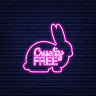 Bandera rosa libre de crueldad. emblema vegano. diseño de envases. producto natural. icono de neón. ilustración de stock vectorial.