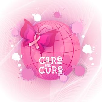 Bandera rosada de la conciencia del cáncer de pecho de la mariposa