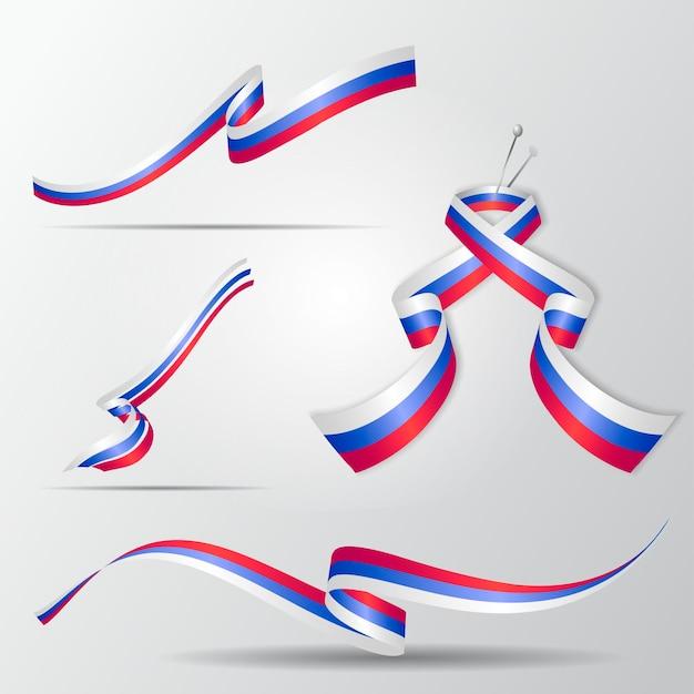 Bandera de rusia. conjunto de cintas rusas. ilustración vectorial.