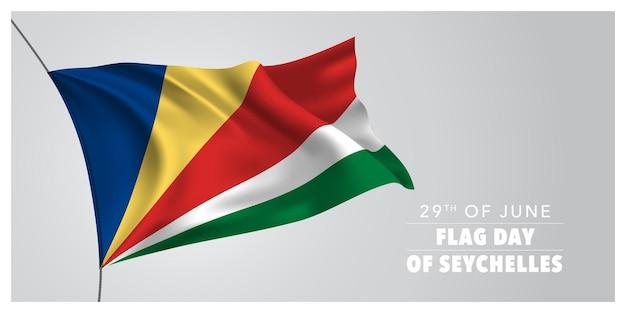 Bandera de saludo del día de la bandera feliz de seychelles