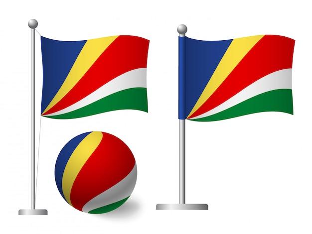 Bandera de seychelles en icono de polo y bola