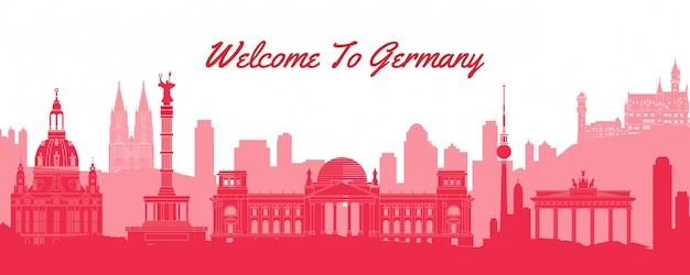 Bandera de silueta de puntos de referencia de alemania