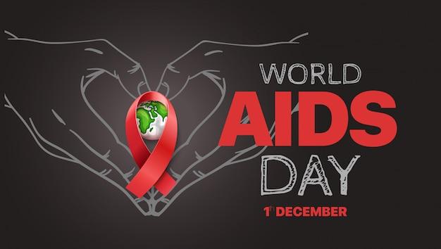 Bandera de símbolo de conciencia de sida