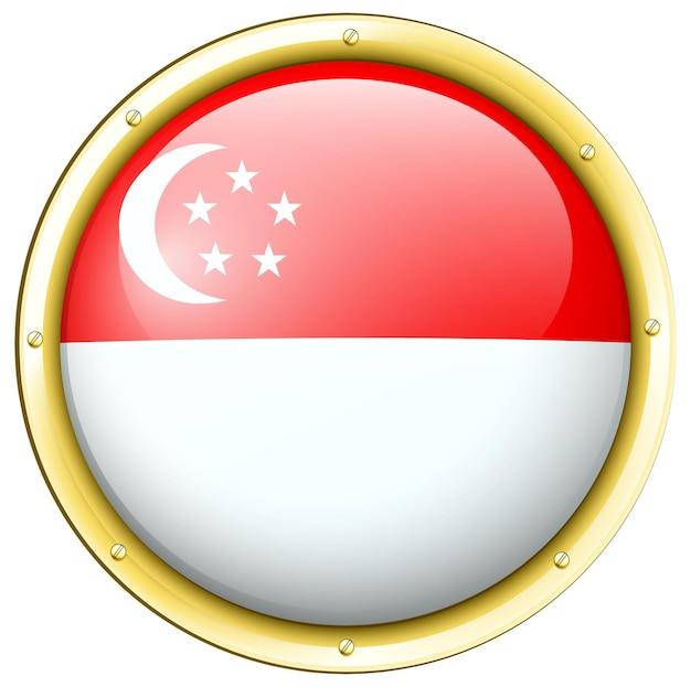 Bandera de singapur en botón redondo