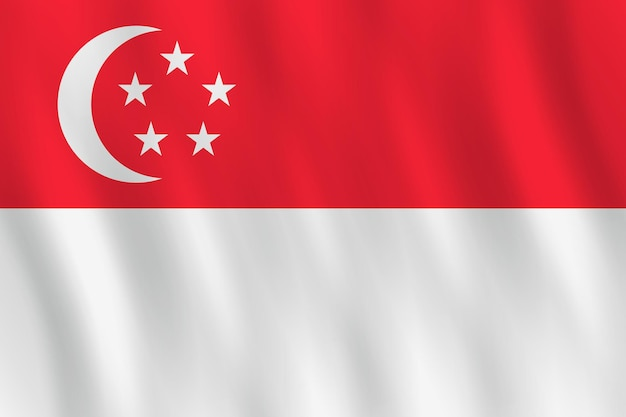 Bandera de singapur con efecto ondulado, proporción oficial.