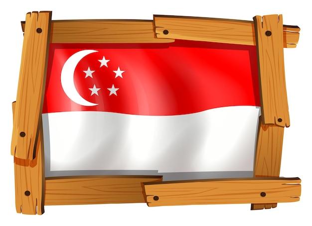 Bandera de singapur en marco de madera