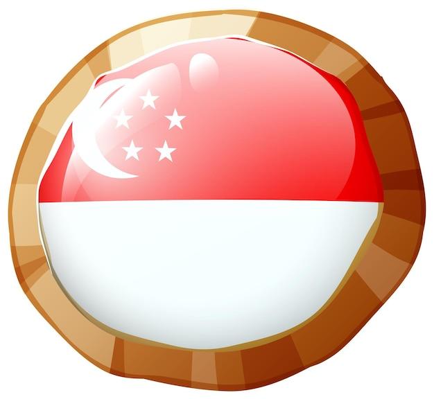Bandera de singapur en placa redonda