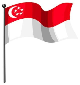 Bandera de singapur con poste en estilo de dibujos animados aislado sobre fondo blanco.