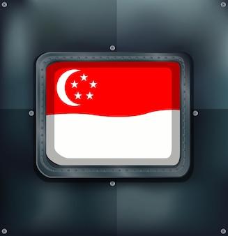 Bandera de singapur sobre fondo metálico