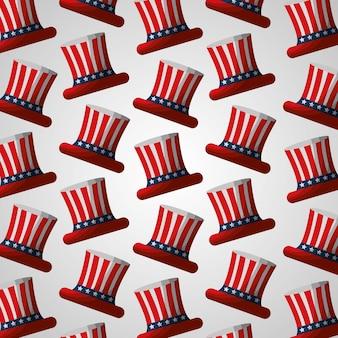 Bandera en sombrero superior patrón de independencia americano