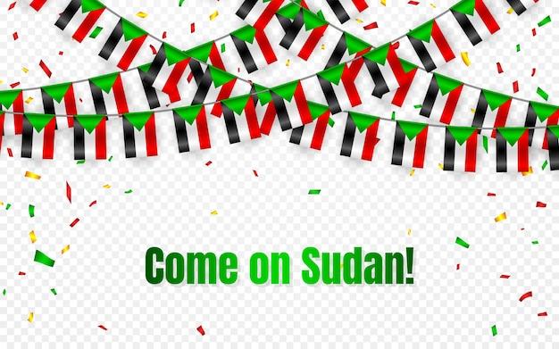 Bandera de sudán garland con confeti sobre fondo transparente, colgar banderines para banner de plantilla de celebración,