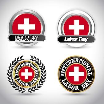 Bandera de suiza con vector de diseño de día de trabajo