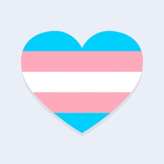 Bandera trans en forma de corazón