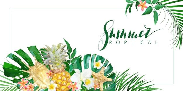 Bandera tropical con flores y conchas marinas. plantilla de vector.