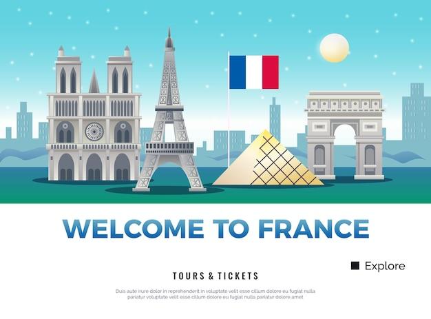 Bandera de turismo de francia con museos y monumentos