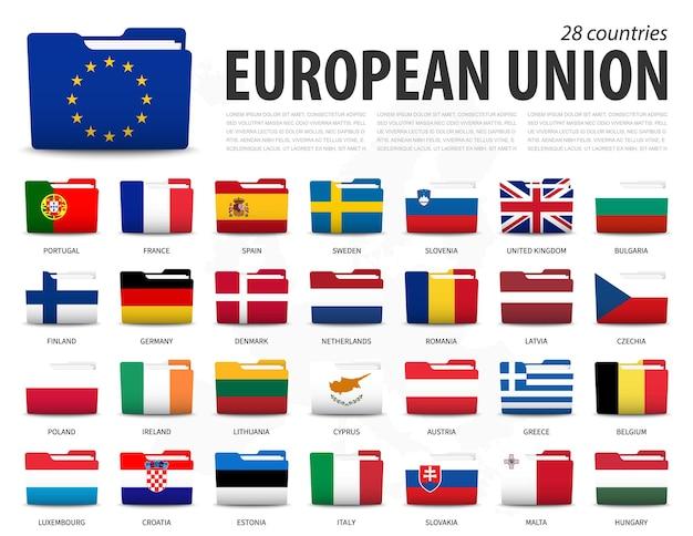 Bandera de la unión europea (ue) y membresía en el fondo del mapa de europa. banderas de carpeta