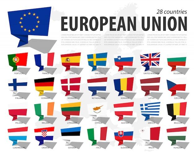 Bandera de la unión europea (ue) y membresía en el mapa de europa. diseño de burbujas de discurso