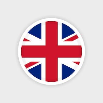 Bandera united kingdon con marco de círculo y fondo blanco.