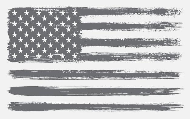 Bandera usa hecha con pinceles