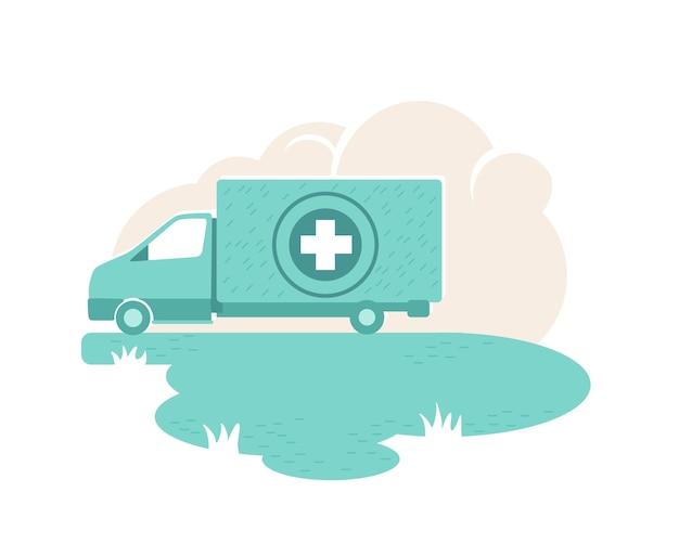 Bandera de van de ayuda humanitaria, cartel. coche de hospital. ilustración de donación de medicamentos sobre fondo de dibujos animados. parche imprimible de vehículo de organización benéfica, elemento colorido