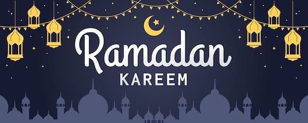Bandera de vector horizontal de ramadan kareem, con linterna y mezquita