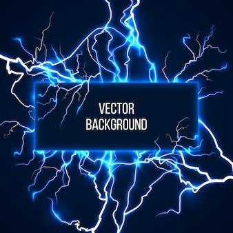 Bandera de vector con relámpagos y corriente de descarga. electricidad, tormenta de voltaje, ilustración de naturaleza meteorológica