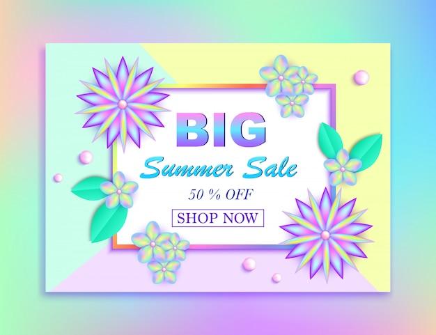 Bandera de la venta del verano con las flores, las hojas y las gotas coloridas en fondo colorido. ilustración vectorial