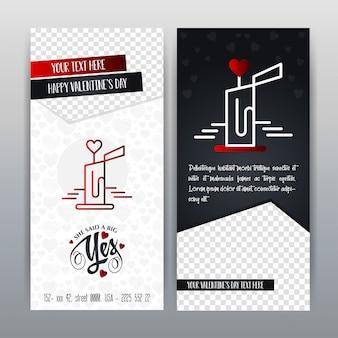 Bandera vertical del icono rojo feliz del día de tarjeta del día de san valentín. ilustración vectorial
