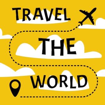 Bandera de viaje alrededor del mundo viajando en avión.