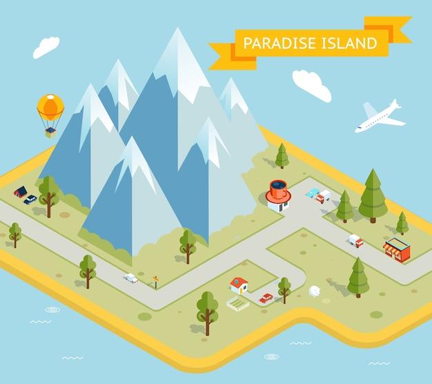 Bandera de viaje. mapa plano isométrico de paradise island. naturaleza y vacaciones, mar e isla. ilustración vectorial