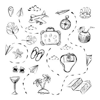 Bandera de viaje vectorial elementos dibujados a mano avión equipaje brújula mapa de cáscara de coco