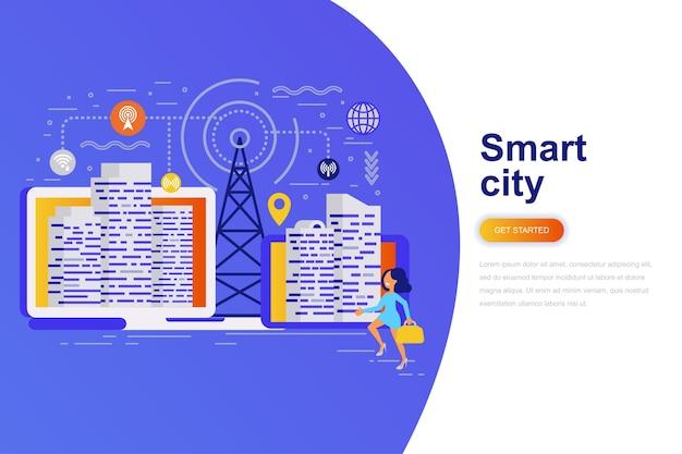 Bandera de web de concepto plano moderno ciudad inteligente