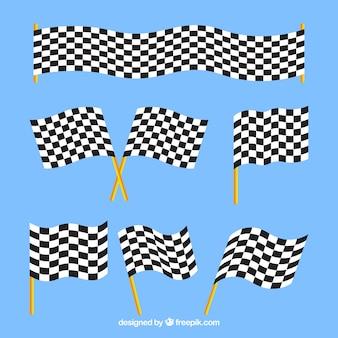 Banderas a cuadros con diseño plano