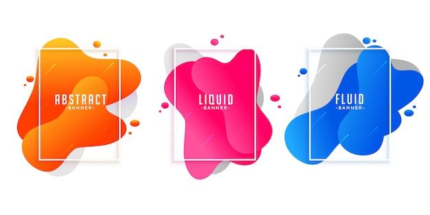 Banderas abstractas de líquido líquido en diferentes colores.