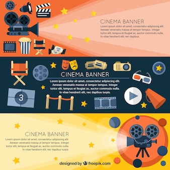 Banderas con los accesorios de película que se desarrolla