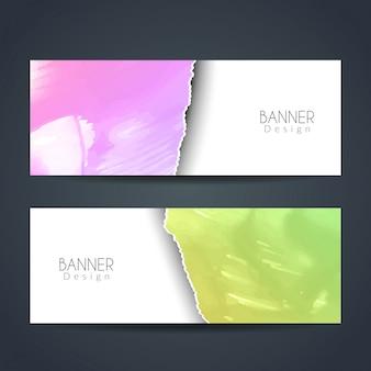 Banderas de acuarela coloridos estilo papel rasgado