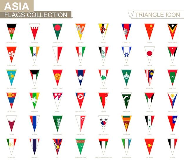 Banderas de asia, todas las banderas asiáticas. icono de triángulo.