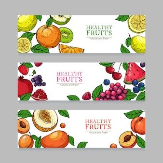 Banderas de bayas y frutas.