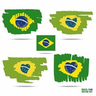 Banderas de brasil pintadas a mano