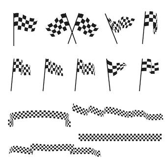 Banderas de carreras de auto a cuadros en blanco y negro y conjunto de vectores de cinta de acabado