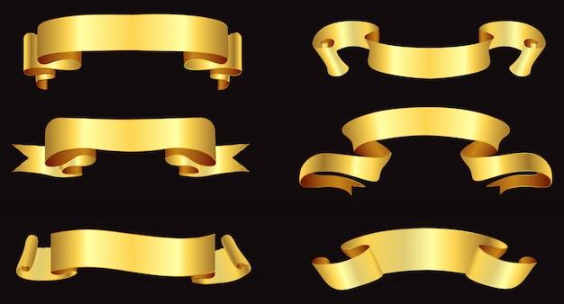Banderas de cinta dorada