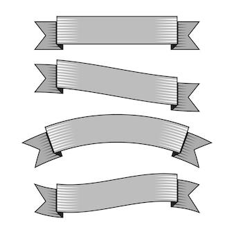 Banderas de cinta retro en estilo de grabado dibujado a mano