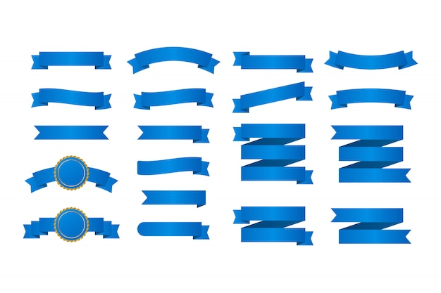Banderas de cintas azules. conjunto de cintas ilustración.