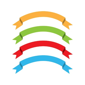 Banderas de cintas planas planas aisladas sobre fondo blanco, conjunto de ilustraciones