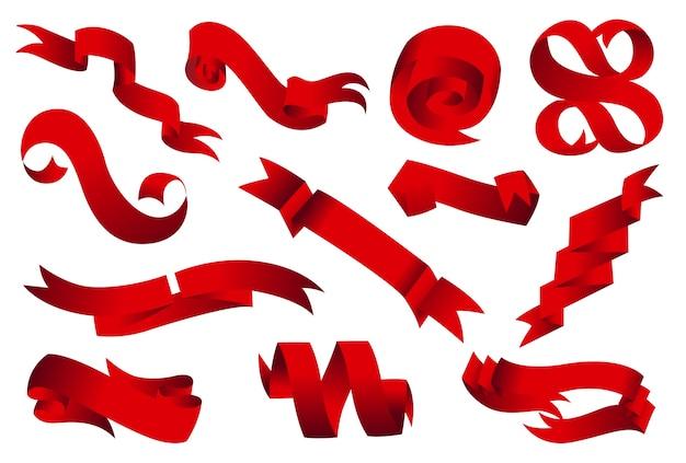 Banderas de cintas planas planas aisladas sobre fondo blanco. diseño moderno. conjunto de ilustración de cinta roja y arco.