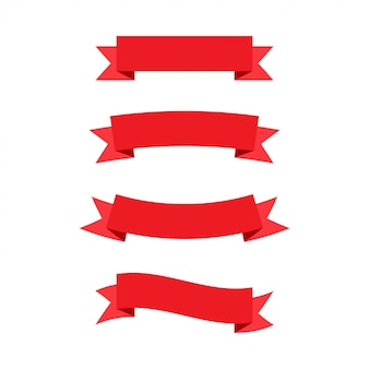 Banderas de cintas rojas.